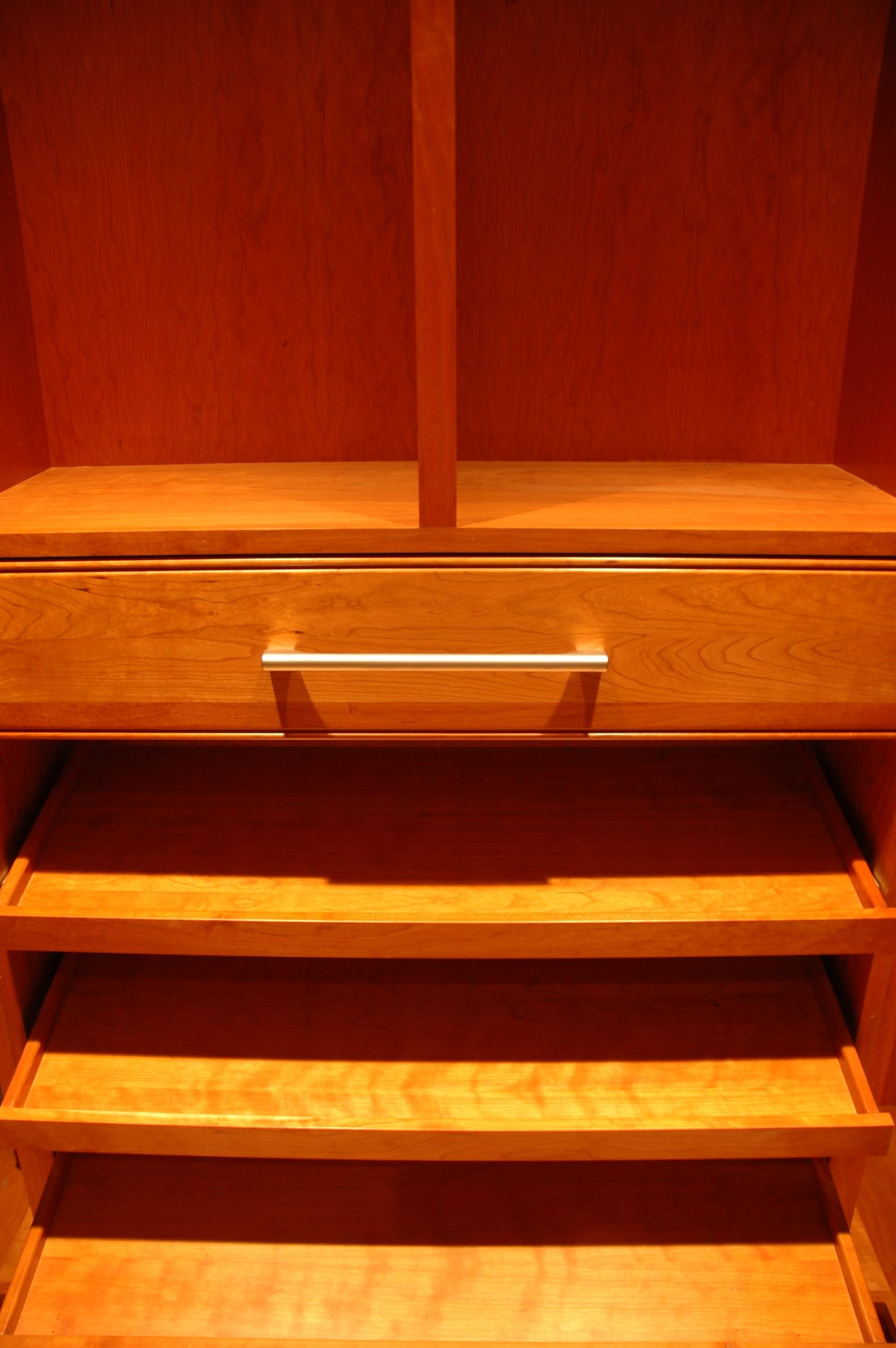 Light wood toned closet organizer